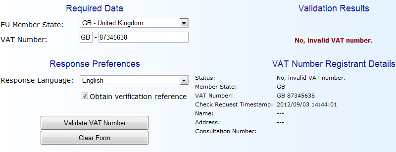 Ecommerce VAT Registration Number Validator