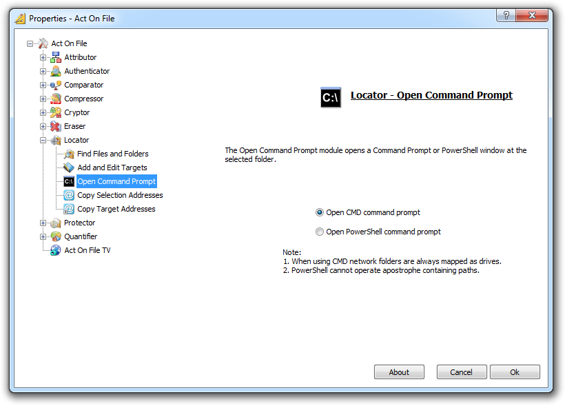 Act On File 2012 - The Locator Module - The Open Command Prompt